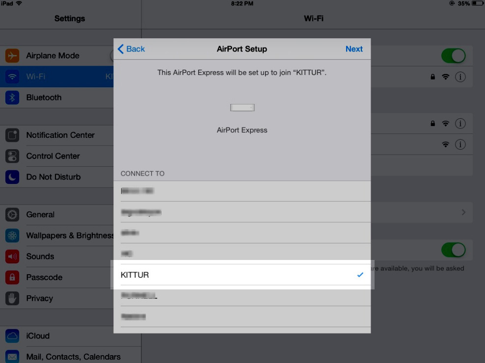 iOS Airport connect to network