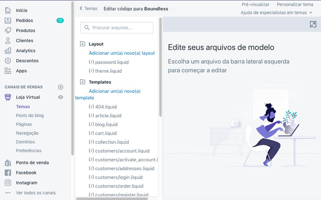 A página do editor de código