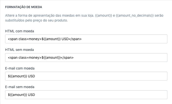 Página do admin da Shopify mostrando a formatação da moeda com elementos span aplicados