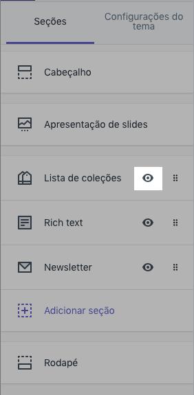 Barra de ferramentas do editor de temas com o ícone de olho em destaque