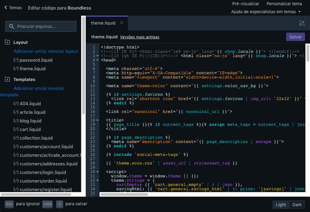 O editor de código mostrado com o esquema de cores escuras
