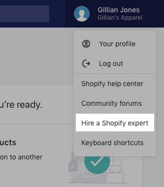 アカウントメニューの [Shopify Expertを雇う] をクリックします。