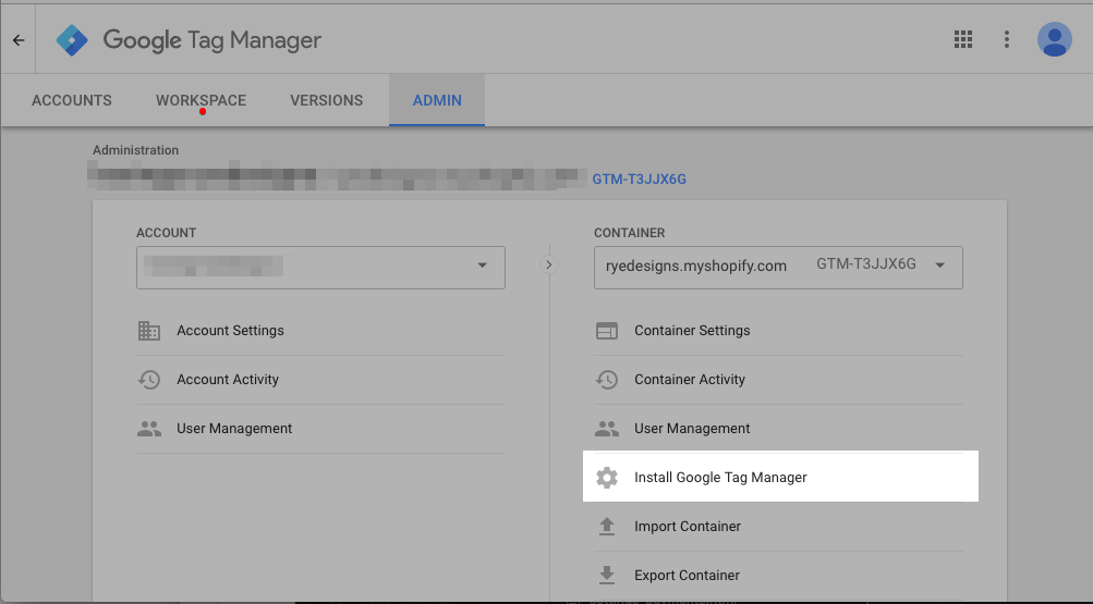 Screenshot of Google Tag Manager showing the code snippets you need to copy to your theme files.