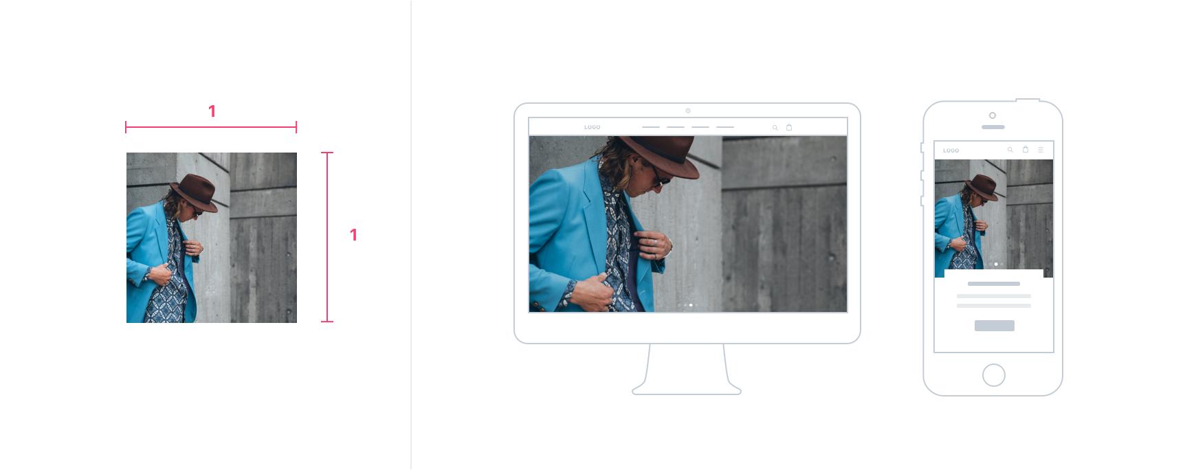 正方形のスライドがデスクトップとモバイル端末に表示されます。画像はデスクトップ端末でトリミングされますが、モバイル端末でトリミングされません。