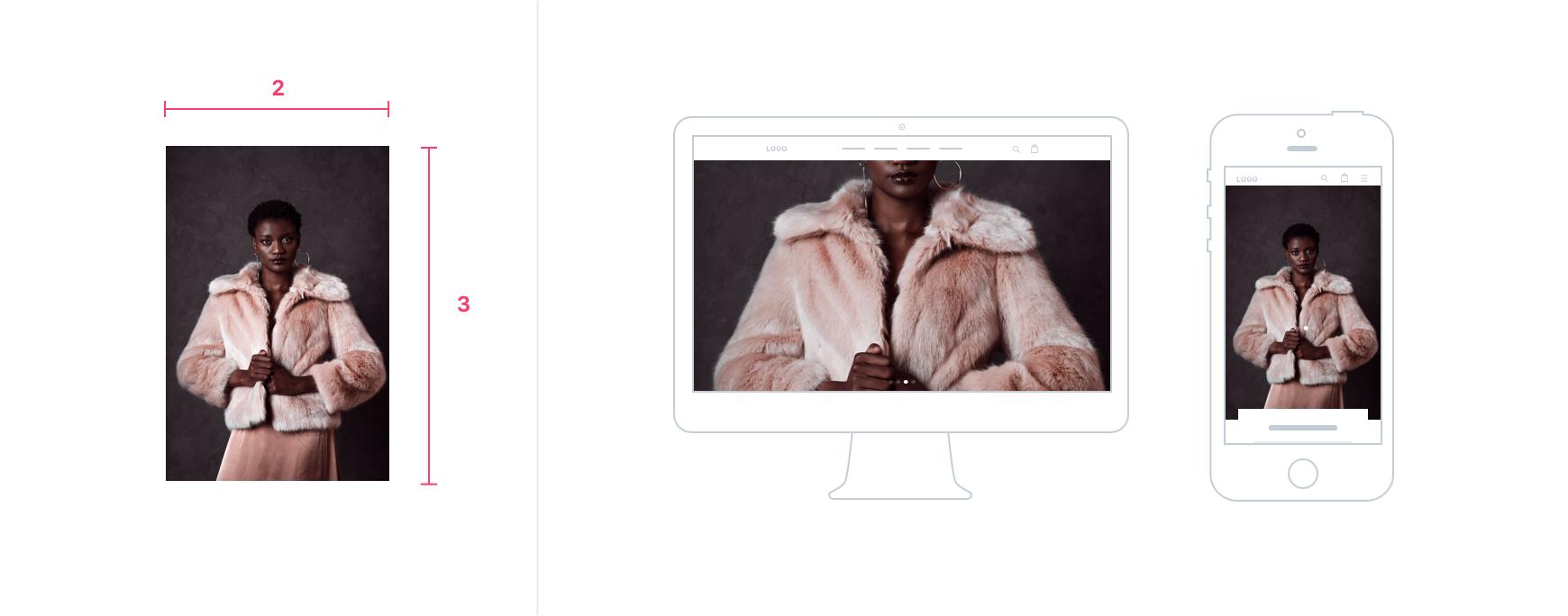 高いスライドがデスクトップとモバイル端末に表示されます。画像はデスクトップ端末でトリミングされますが、モバイル端末でトリミングされません。