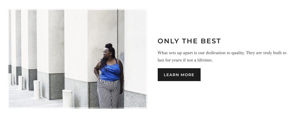 La section image et texte d'une boutique en ligne. La moitié gauche de la section montre une image, et la moitié droite de la section affiche du texte et un bouton.