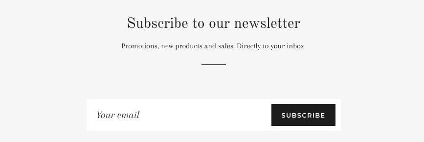 La section newsletter sur un site web. Ce champ comprend une zone de texte pour que les clients y saisissent leur adresse e-mail, mais aussi un bouton «S'abonner».