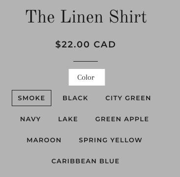 Une liste de produits pour une chemise avec la possibilité de choisir différentes variantes de couleur. L'étiquette «Couleur» est en surbrillance.