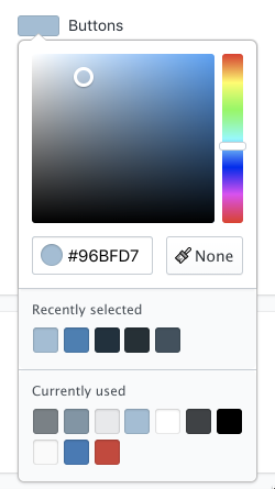 The color picker in the theme editor