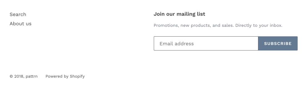 顯示選單、訂閱電子報和版權文字的網站頁尾區段。