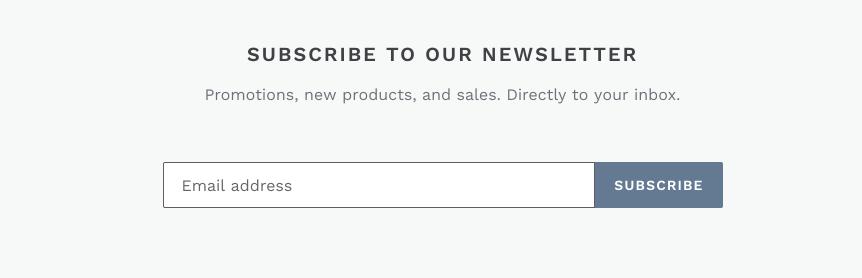 La sección del boletín en un sitio web. Hay un campo para que los clientes introduzcan una dirección de correo electrónico y un botón que dice
