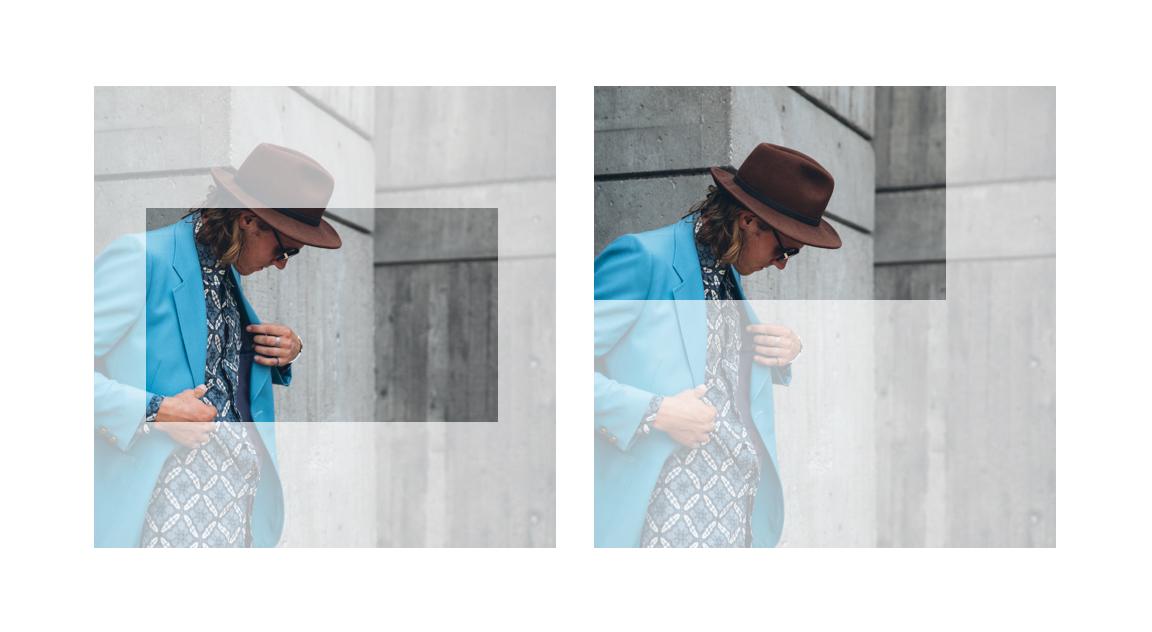 画像の位置設定に応じて別々にトリミングされるスライドの例。