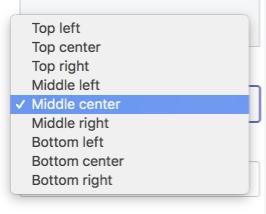 テーマエディタの画像の位置設定。ドロップダウンメニューには、「左上」や「中央右」などの9つの異なるオプションが表示されます。