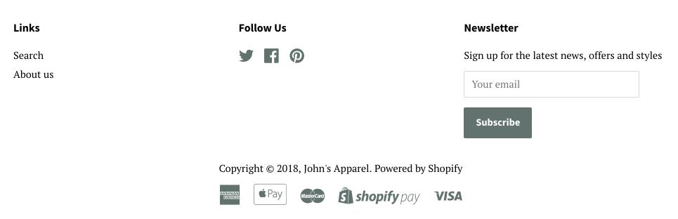 Sidfoten på en webbplats som visar en meny, ett nyhetsbrev, upphovsrättstext och betalningsikon.