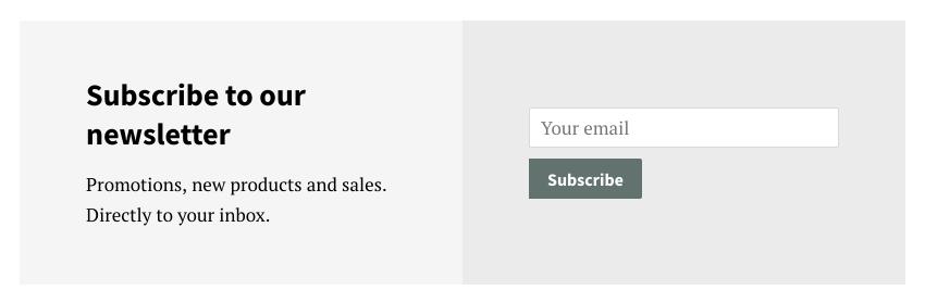 Nyhetsbrevsavsnittet på en webbplats. Det finns ett fält där kunder kan ange en e-postadress och en knapp som säger