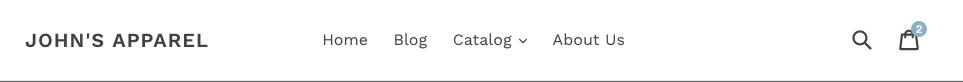 John's Apparelというウェブサイトのヘッダーバーには、メインメニューアイテム、検索アイコン、カートアイコンが表示されます
