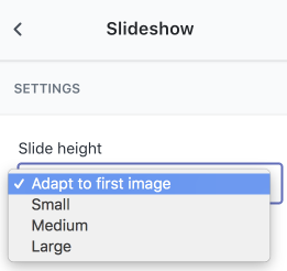 Los ajustes de altura de diapositiva en el editor de temas. Un menú desplegable de altura de diapositiva muestra las siguientes opciones: Adaptarse a la primera imagen, Pequeña, Mediana y Grande.