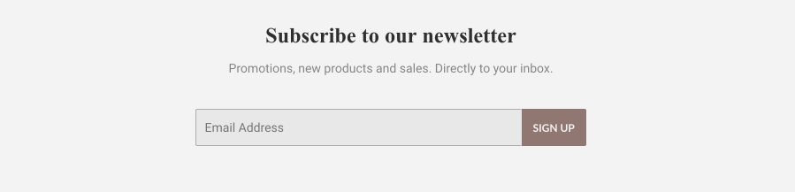 The newsletter section on a website. There is a field for customers to enter an email address and a button that says 'Subscribe'.